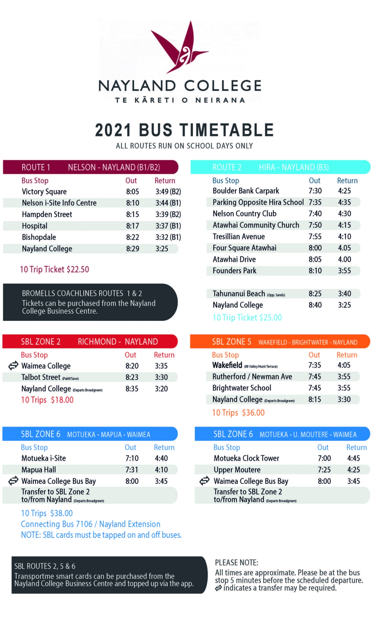 Bus Timetable Nayland College 2021
