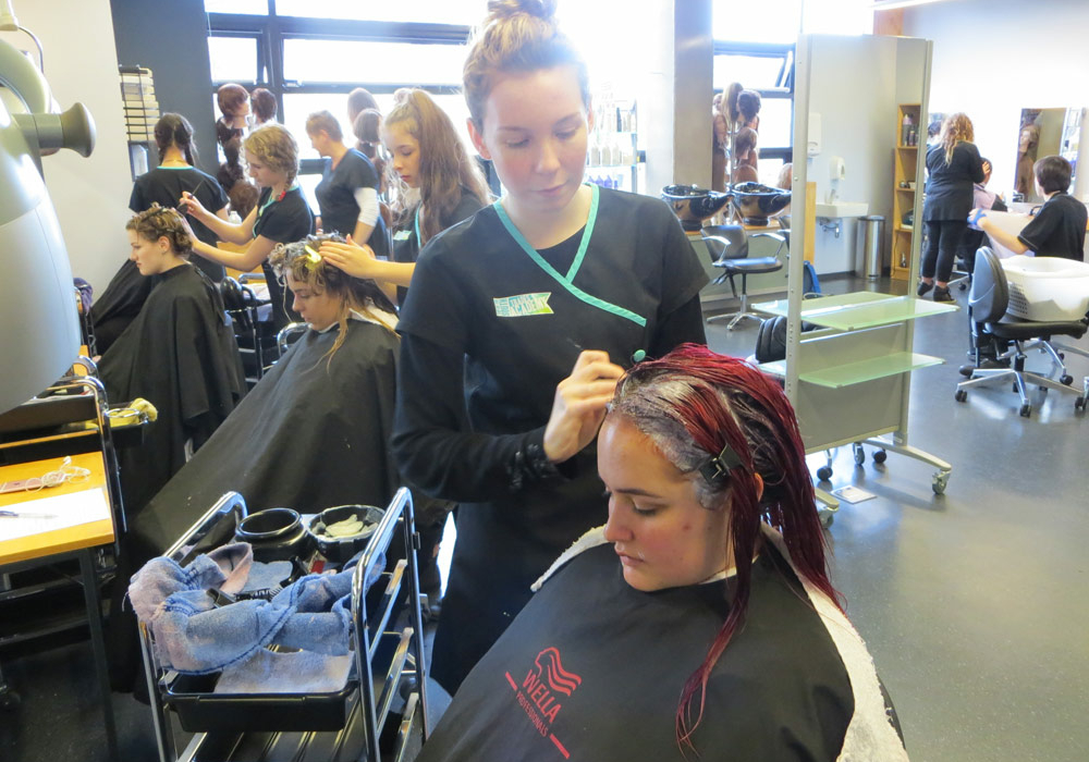 Trades Academy Students in Hairdressing course